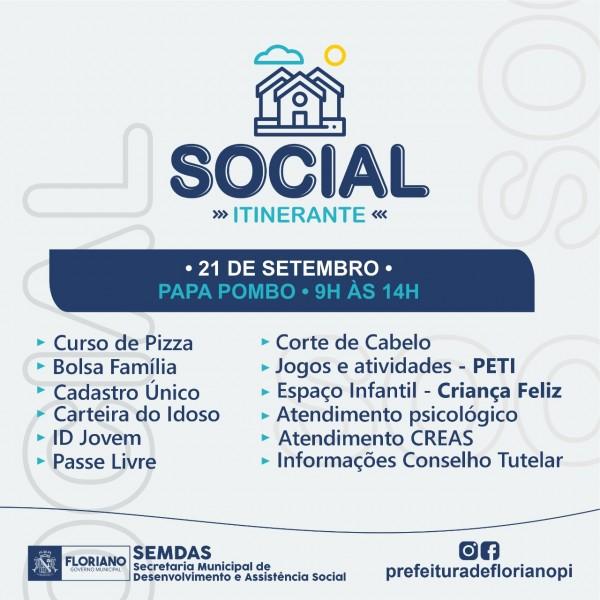SEMDAS leva ação social para o Papa Pombo neste sábado (21) em Floriano